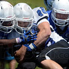 Tribune-Star/Joseph C. Garza<br /> Full contact fullback: Indiana State University fullback Austen Wozniak (48) collides with a teammate as he carries the ball Saturday during the Sycamores' scrimmage at Memorial Stadium.