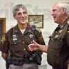 "Tribune-Star/Joseph C. Garza<br /> Sent back: Vermillion County Sheriff Robert J. Spence remembers how he mentioned to deputy Tim DisPennett that ""You're the only one I know who got kicked out of Heaven today"" after he DisPennett was revived on Aug. 6 during a press conference at the Clinton Municipal Building Wednesday."
