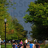 Tribune-Star/Jim Avelis<br /> Dark future: Returning Indiana State University students walk on campus Monday evening.