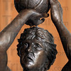 Tribune-Star/Joseph C. Garza<br /> Detail down to the mustache: Bill Wolfe's original maquette of Indiana State University basketball legend Larry Bird included his mustache and trademark shooting form.