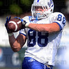 Tribune-Star/Joseph C. Garza<br /> Complete pass: Indiana State University tight end Michael Mardis makes a catch during practice Monday at Memorial Stadium.