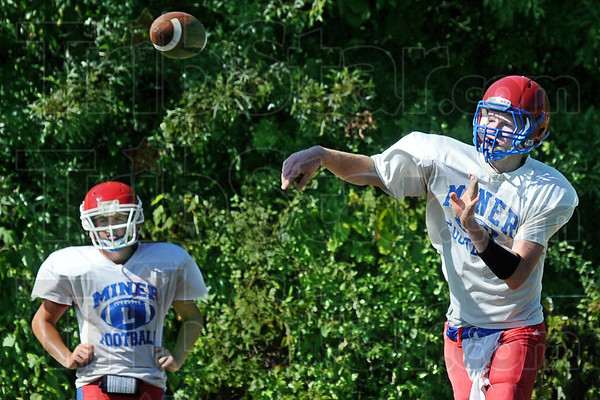 Karazia: Linton quarterback Austin Karazia launches a pass during Monday's practice as the team prepares for the start of the football season.