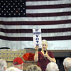 "Tea Party message: Tea Party co-founder Mary Wright urges those in attendance to ""get involved and vote"" during Tuesday's Tea Party meeting at the VFW."