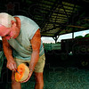 Tribune-Star/Joseph C. Garza<br /> Made the cut: The sweet smell of cantaloupe became even stronger at the Sandy Ridge Melon Farm stand Tuesday after Mike Dodds cut open one to sample in northern Knox County.