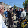 Tribune-Star/Jim Avelis<br /> Co-operation: Several law enforcement agencies came together to help during the disturbance surrounding the William Mallory hearing.