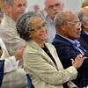 Tribune-Star/Joseph C. Garza<br /> Sharing a great sense of humor: Retired circuit-court judge Viola Taliaferro laughs with her husband, George, right, as he jokes during her introduction as the keynote speaker of the Women's Equality Day luncheon Tuesday at the Girl Scouts of Central Indiana.