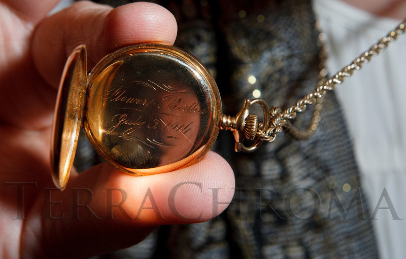 "Donald Seawell's niece, Terrell Seawell Tracy, brought a watch that Mr. Seawell's father gave as a birthday present to his mother, engraved with ""Flowers-Bertha / July 3, 1914"", when Mr. Seawell was almost 2 years old.  Mr. Seawell's father went by the name, Flowers, a middle name of his.  Celebration of Donald R. Seawell's 100th birthday at the Donald R. Seawell Grand Ballroom, Denver Center for Performing Arts, in Denver, Colorado, on Wednesday, Aug. 1, 2012.<br /> Photo Steve Peterson"