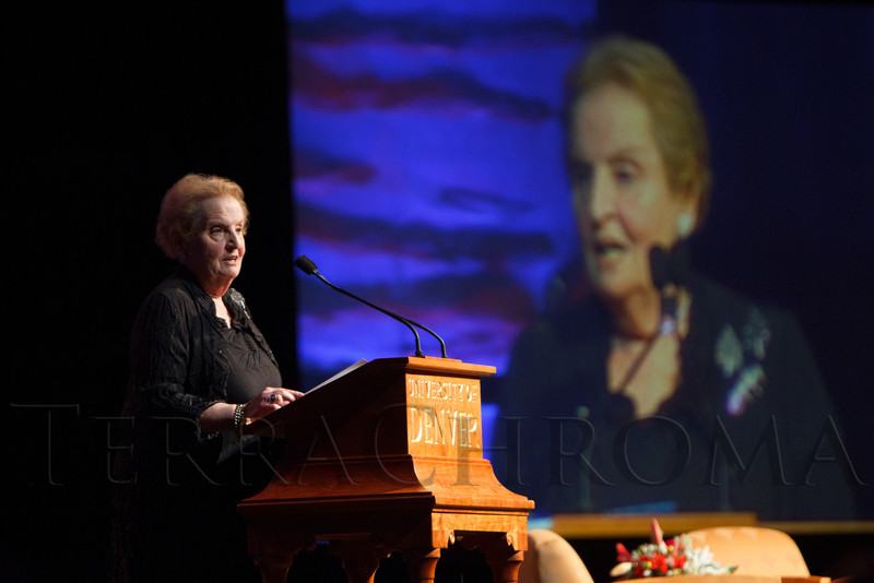 Madeleine Albright.  The Fifteenth Annual Korbel Dinner, benefiting the Josef Korbel School of International Studies, at the Sheraton Denver Downtown Hotel in Denver, Colorado, on Wednesday, Aug. 15, 2012.<br /> Photo Steve Peterson