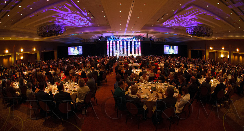 Inside the ballroom during dinner and program.  The Fifteenth Annual Korbel Dinner, benefiting the Josef Korbel School of International Studies, at the Sheraton Denver Downtown Hotel in Denver, Colorado, on Wednesday, Aug. 15, 2012.<br /> Photo Steve Peterson