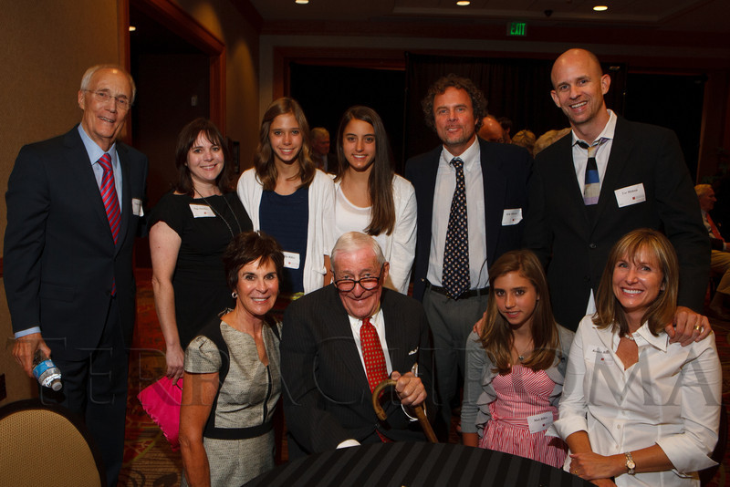Clockwise from top left:  Trygve Myhren, Paige Hamilton, Abby Rifkin, Lacey Rifkin, Erik Myhren, Tor Myhren, Kirsten Rifkin, Madi Rifkin, Bob Craig, and Vicki Myhren.  The Fifteenth Annual Korbel Dinner, benefiting the Josef Korbel School of International Studies, at the Sheraton Denver Downtown Hotel in Denver, Colorado, on Wednesday, Aug. 15, 2012.<br /> Photo Steve Peterson