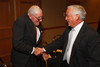 Bob Craig (first president of the Aspen Institute) and Walter Isaacson (current Aspen Institute president and CEO).  The Fifteenth Annual Korbel Dinner, benefiting the Josef Korbel School of International Studies, at the Sheraton Denver Downtown Hotel in Denver, Colorado, on Wednesday, Aug. 15, 2012.<br /> Photo Steve Peterson