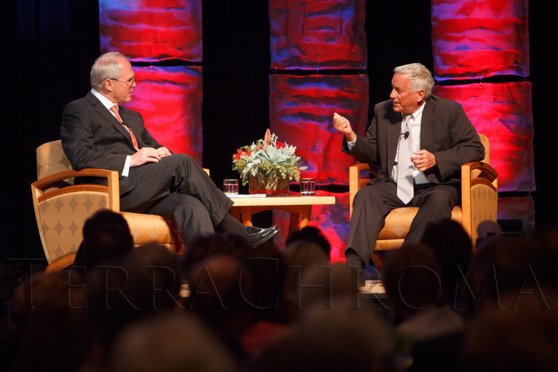 Christopher Hill interviews Walter Isaacson.  The Fifteenth Annual Korbel Dinner, benefiting the Josef Korbel School of International Studies, at the Sheraton Denver Downtown Hotel in Denver, Colorado, on Wednesday, Aug. 15, 2012.<br /> Photo Steve Peterson