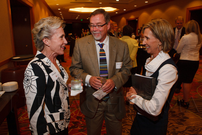 Kathi Brock, Rick Gabrielson, and Kelli Kindel.  The Fifteenth Annual Korbel Dinner, benefiting the Josef Korbel School of International Studies, at the Sheraton Denver Downtown Hotel in Denver, Colorado, on Wednesday, Aug. 15, 2012.<br /> Photo Steve Peterson