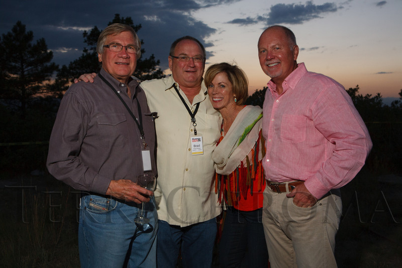 John Head, Brad Pfeifley, Judy Fahrenkrog, and Larry King.  Lulu's Barkin' BBQ, benefiting the Dumb Friends League Buddy Center in Castle Rock, Colorado, held at the home of Fred and Jana Bartlit in Castle Pines, Colorado, on Saturday, Aug. 18, 2012.<br /> Photo Steve Peterson