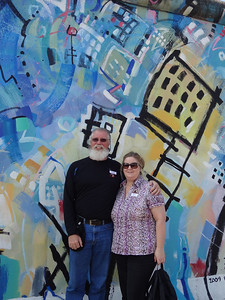 Berlin, Germany - Dave and Lynn in front of the Berlin Wall