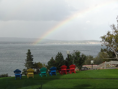 """Rainbow as seen from """"Keltic Lodge"""" - Cape Breton Cabot Trail Tour"""