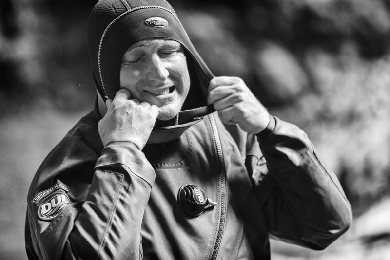 Hugh adjusts his hood at the Mračaj spring