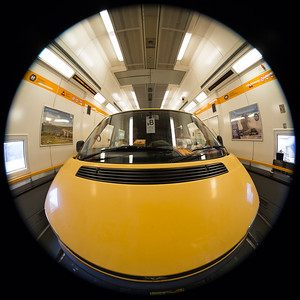 Playing around with Renato's Canon 8–15mm fisheye lens in the Eurotunnel, here at the widest setting showing a circular image of a full 180 degree hemisphere in front of the camera