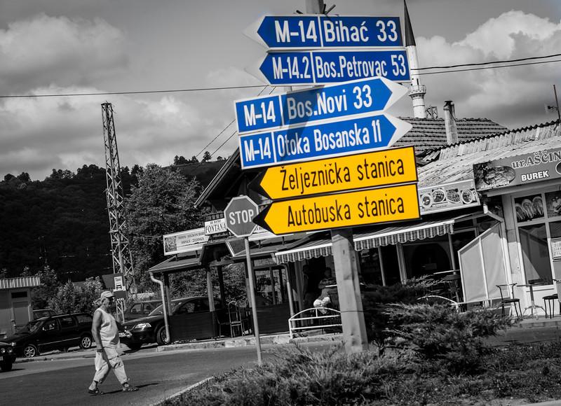 Signposts in Bosanska Krupa