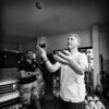 Hugh practising juggling.