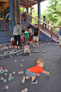 M's favorite activity at SDC, the foam ball room