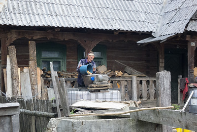 Water powered mill, distillery, etc. Maramures. Apples for palenca