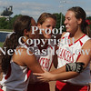Erica Galvin/NEWS<br /> Neshannock Lady Lancers from left, Katie Burrelli, Rachel Iorio and Amanda Furst share a laugh after defeating Warrior Run 4-3 in the PIAA Class AA Championship at Penn State.