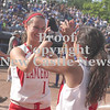 Erica Galvin/NEWS<br /> Rayanna Furst high-fives Kaela Zingaro after winning the PIAA Class AA Championship.