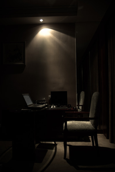 The desk in my hotel room where I was able to access the outside world.