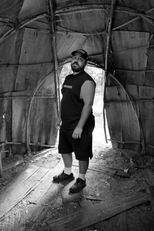 Dan inside the wigwam.