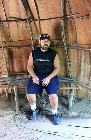Dan inside the wigwam.