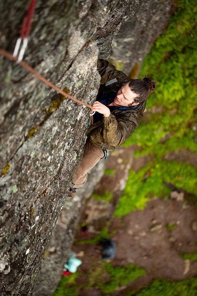 Jared follows up the first pitch of <i>Toto 5.7</i> as the rain comes down.