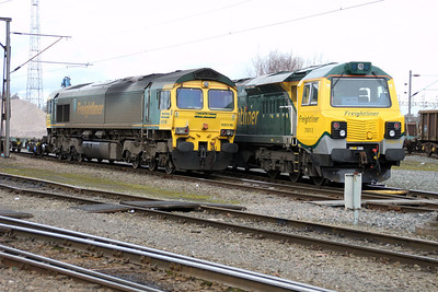 66516 and 70013 in Basford Hall 17/03/12