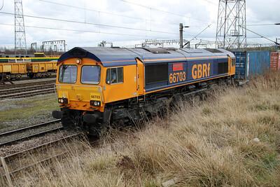 66703 1252/4m29 Felixstowe-Barton Dock passes Basford Hall 17/03/12