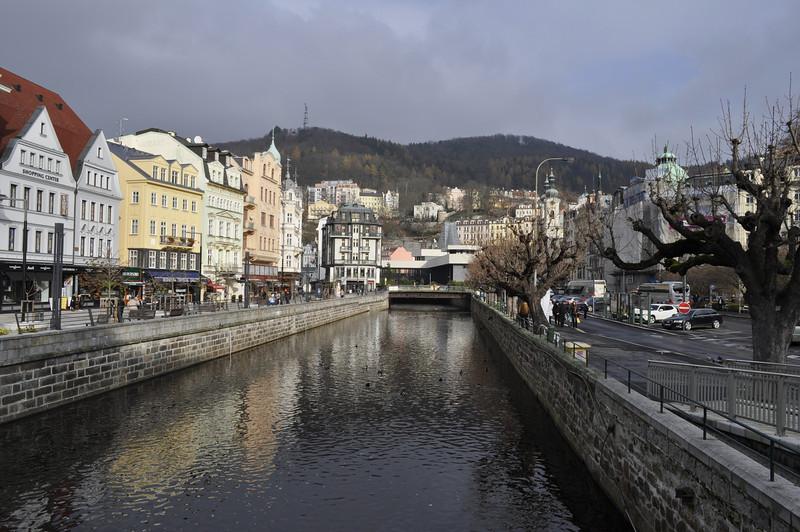 The river running through town.