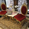 golden chairs in one of the shops - this shop sold Versace as well as glass.
