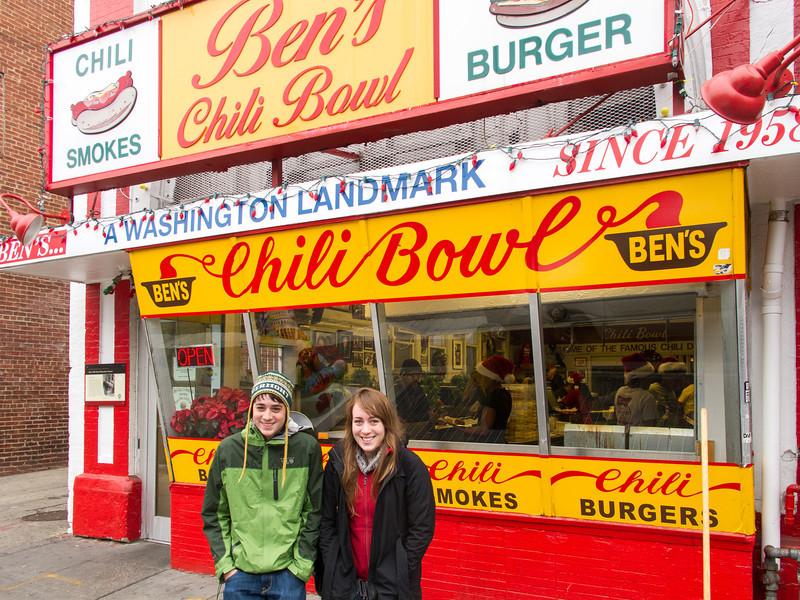 Benjamin and Isabel at Ben's Chili Bowl
