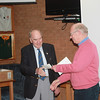 David Render receives a cheque from the club in support of his chosen charity, Sherwood Rangers Widows Fund, from Vice-President Dick Craddy