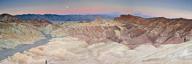 Pano of Zabriski Point with the moon setting. We were fortunate to be there during a full moon. A little bit of pink color came out in the sky. I love the shapes here! I thought I'd leave the people in to give this place a sense of scale