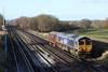 "10 December 2012 :: 66724 and LT No 12 ""Sarah Siddons"" on 0V12, Eastleigh to West Ruislip at Potbridge"