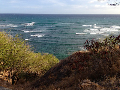 Looking out at the endless ocean on a run around Diamond Head