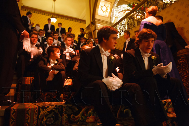 Debutante escorts in the queue for the presentation ceremony:  Ben Bechter and James Rassenfoss.  The 2012 Denver Debutante Ball, benefiting the Denver Botanic Gardens, at the Brown Palace Hotel and Spa in Denver, Colorado, on Saturday, Dec. 22, 2012.<br /> Photo Steve Peterson