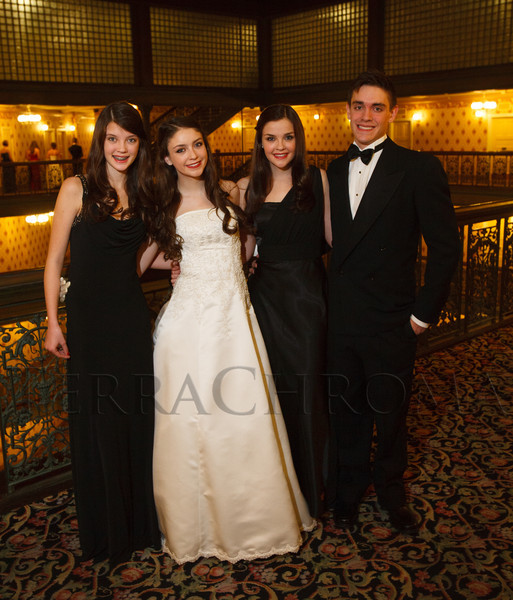 Siblings:  Sophia, Genevieve, Natasha, and John Crawford.  The 2012 Denver Debutante Ball, benefiting the Denver Botanic Gardens, at the Brown Palace Hotel and Spa in Denver, Colorado, on Saturday, Dec. 22, 2012.<br /> Photo Steve Peterson