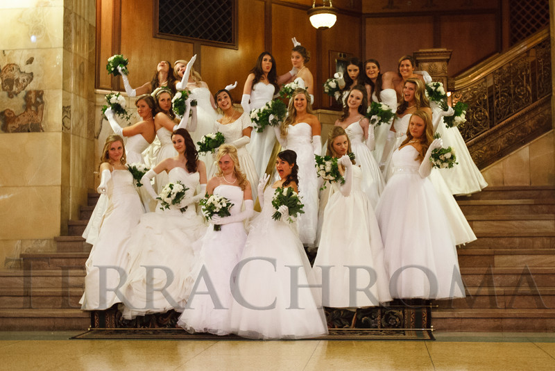 The last of the Debutante group photos.  The 2012 Denver Debutante Ball, benefiting the Denver Botanic Gardens, at the Brown Palace Hotel and Spa in Denver, Colorado, on Saturday, Dec. 22, 2012.<br /> Photo Steve Peterson