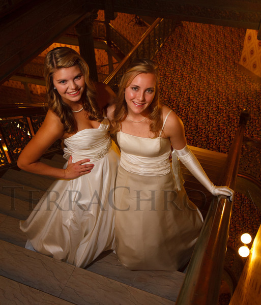 Katie McDermott and Liza Sawyer.  The 2012 Denver Debutante Ball, benefiting the Denver Botanic Gardens, at the Brown Palace Hotel and Spa in Denver, Colorado, on Saturday, Dec. 22, 2012.<br /> Photo Steve Peterson