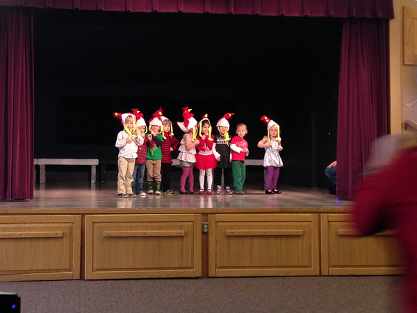 "Connor's theatrical debut with his ""enrichment"" class at the Co-op! Chicken dance! Connor is in the green shirt."
