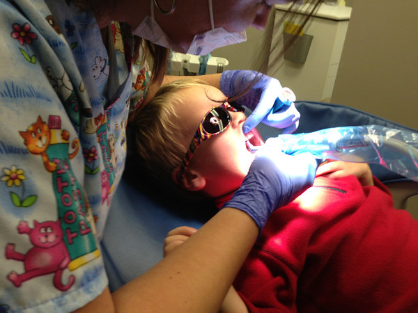 Connor was terrified of the dentist but was very brave!