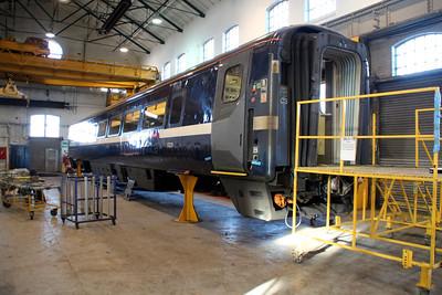 East Coast MKIV coach 12220 under refurbishment inside Wabtec.
