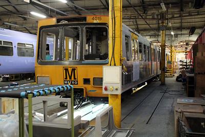 Tyne & Wear Metro 4015 under refurbishment inside Wabtec.