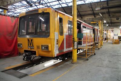 Tyne & Wear Metro 4089 under refurbishment inside Wabtec.